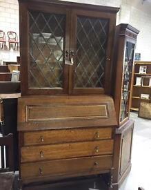 Antique Oak Bookcase Bureau VGC