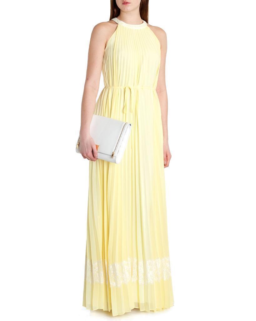 Gorgeous Ted Baker Lemon Yellow Pleated Maxi Dress Bridesmaid Uk 8 10