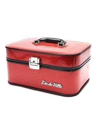 Vanity Case Red Sparkle NEW Leopard Lined Train Case Pin Up (Elvira Make-up)