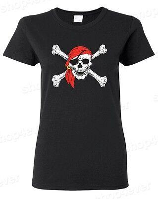Womens Pirate T Shirt (Jolly Roger Skull & Crossbones Women's T-Shirt Pirate Flag)