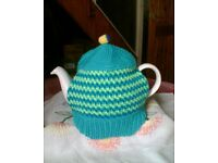 NEW HAND KNITTED TEA COSY - 3 SHADES OF GREEN / BRIGHT STRIPES