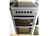 BEKO Silver 50cm, Fan Assist, Ceramic Top, ELECTRIC COOKER + 3 Month Guarantee + FREE LOCAL DELIVERY