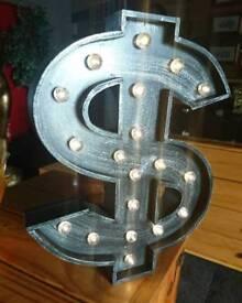 Light Up dollar sign bedside