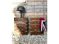 Pair of Vintage campaign style Indian bedside table chest of drawers