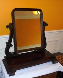 Victorian dressing table mirror in flame mahogany
