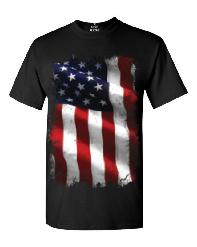 Large American Flag Patriotic T-Shirt July 4th Memorial Labor Day Vet USA Shirts