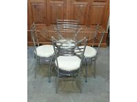Lusi Glass Dining Table & 4 Cream Chairs No050406