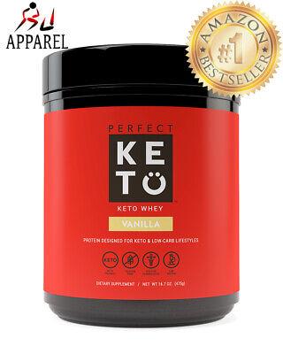Perfect KETO Vanilla Whey Protein Powder Isolate W/ MCT Powder 100% Grass 18oz