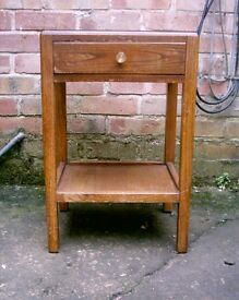 OLD WOOD BEDSIDE TABLE WITH TOP DRAWER