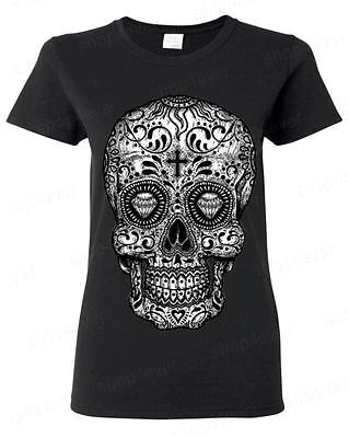 Sugar Skull B&W Women's T-Shirt Day of the Dead Los Muertos Halloween Tees