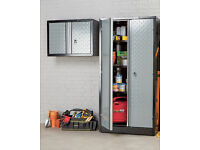 tall beaten metal garage etc cupboard, brand new unused boxed, 2 door lockable with keys.