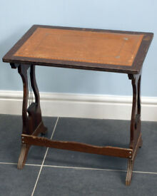 MAHOGANY LYRE END SIDE TABLE WITH LEATHER TOP INSERT
