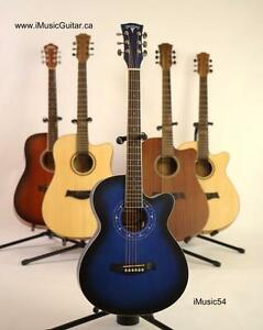 Free Capo and Strap with Acoustic guitar 39 inch iMusic54 blue