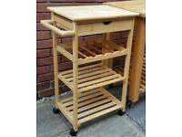 wooden kitchen trolley. 85 x 50 x 38cm. In good condition.