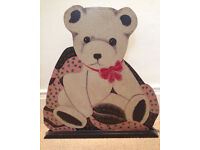 retro teddy bear double sided wooden panel