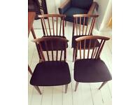 4 x vintage 1960s teak dining chairs mid century retro
