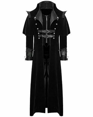 Gothic Steampunk Military Black Jacket Men's Punk Highwayman Regency Long Coat](Gothic Coats Mens)