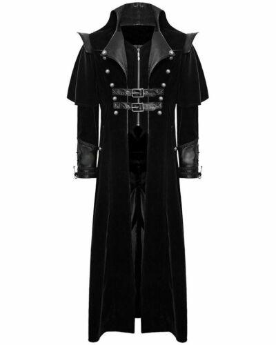 Gothic Steampunk Military Black Jacket Men