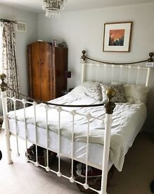 Vintage metal frame double bed, with/without mattress