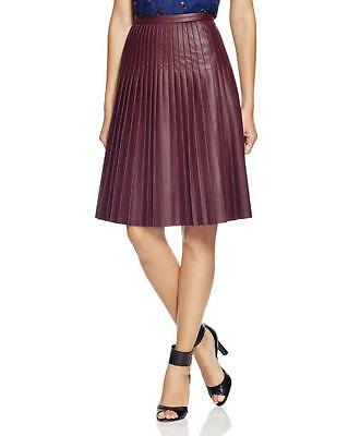 Rebecca Taylor Oxblood Dark Red Faux Leather Pleated Skirt $325 NWT 0