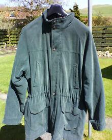 Dark green long gents jacket. Soft fabric, size large, BHS, coat.