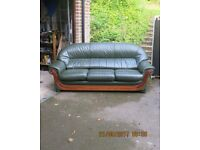 Three seater leather sofa & matching armchair