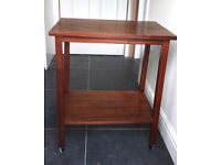 MAHOGANY BUTLERS/UTILITY TROLLEY, OFFICE TABLE WITH WHEELS