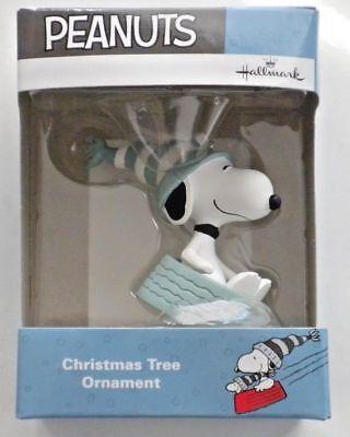 Hallmark Peanuts Snoopy Sledding in Dog Dish Bowl Christmas Tree Ornament
