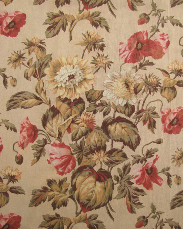 Curtain Vintage old  antique French botanical textile ~ c 1870 ~ fabric
