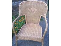 Antique Rattan Wicker Armchair