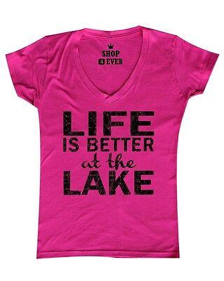 Black Life is Better at the Lake Women's V-Neck T-shirt Camping Hiking (Best Black V Neck T Shirt)