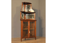 Attractive Antique Victorian Walnut Corner Display Cabinet With Mirror Back