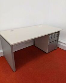 FREE SAME-DAY DELIVERY - Off-White Bene Office Desks, 1600mm Wide