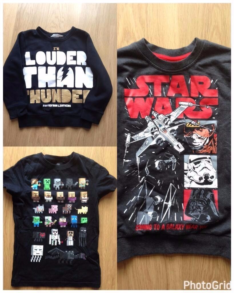 Kids Clothes Size 6 7 (Star Wars, Minecraftin Swindon, WiltshireGumtree - Kids clothes size 6 7 2 x jumpers 1 x t shirt Excellent Condition. Collection from Greenmeadow (SN25 3LQ)