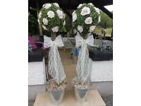 Artificial rose tree's cement bases pots won't blow away