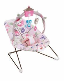 Fisher price tree party bouncy chair baby bouncer vibrating pink girls