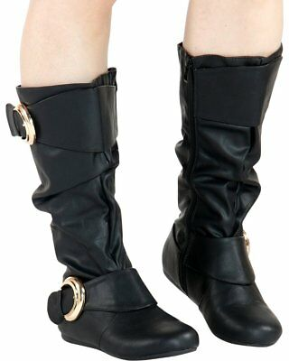 Buckle Knee High Boot (New Slouchy Over-Size Buckle Strap Flat Boot Mid Calf Knee High Faux Leather Zip )