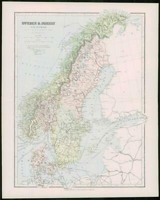 1903 Original Antique Colour Map - SWEDEN NORWAY Baltic North Sea  (21)