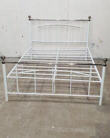 Yani Double Metal Bed Frame - White No020302, No181217