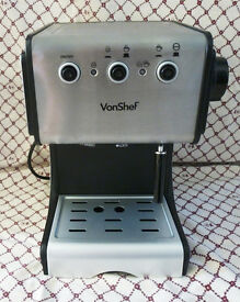 VonShef Premium 15 Bar Stainless Steel Espresso Cappuccino Coffee Maker Machine