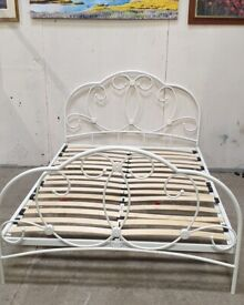 White Metal Double Bed Frame No180506