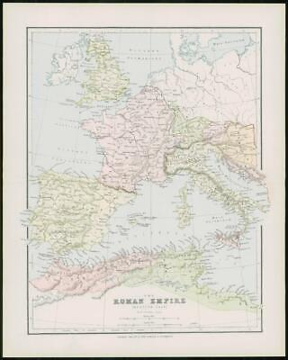 1903 Original Antique Colour Map  - WESTERN ROMAN EMPIRE  (53)
