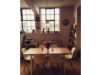 John Lewis Extendable Dining Table with 6 white Eames Style Dining Chairs