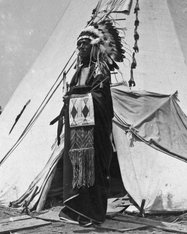 New 8x10 Native American Photo: Black Horse, a Pawnee Chieftain in Costume 1904