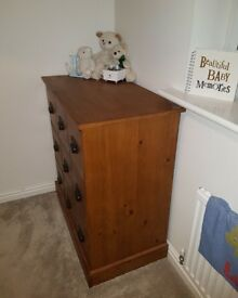 Next solid wood 3 piece nursery set, chest of drawers, wardrobe and cot bed