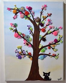 Button tree canvas art - home decor *handmade & handcrafted*