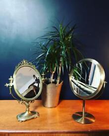 Pair of vintage table top mirrors vanity mirror