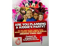 Kids Party DJ Decorations Children's Entertainment Cakes Food Mascots