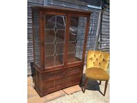 """""""Wood Bros"""" Old Charm Carved Oak Display Dresser **FREE DELIVERY** Leaded Cabinet(Poss Shabby chic)"""