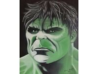 Hulk, Rocky, Star Wars, Canvas Paintings, signed.